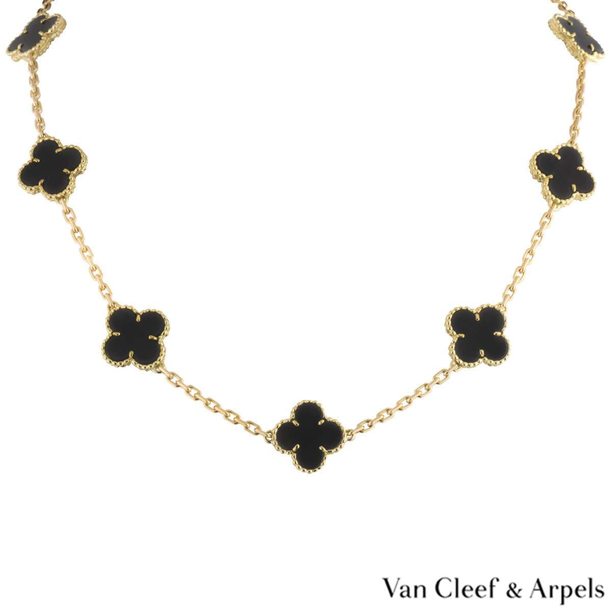 Van Cleef & Arpels Yellow Gold and Onyx Alhambra Necklace VCARA42700